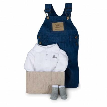Newborn Baby Hamper & Baby Gift Baskets | BebedeParis  Denim Dungarees Gift Set