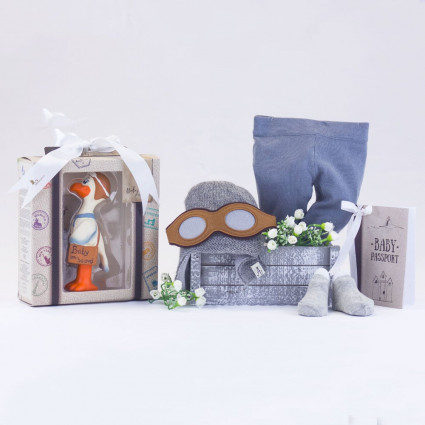 Newborn Baby Hamper & Baby Gift Baskets Teether and fun hat baby set