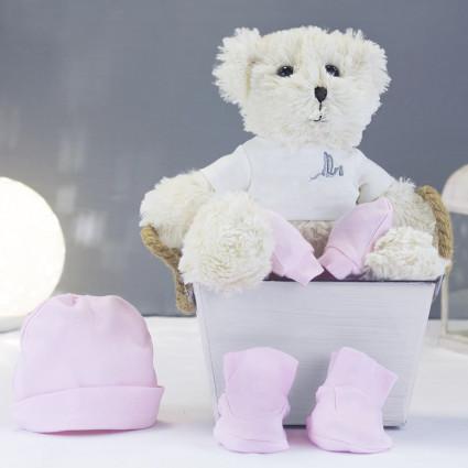 Newborn Baby Hamper & Baby Gift Baskets Socks hat & mittens pack and teddy bear set