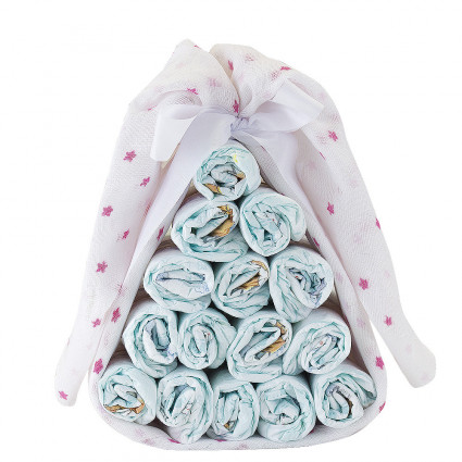 Home Sweet nappy cake with customisable muslin