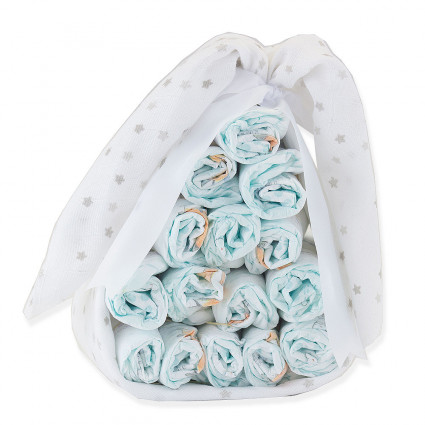 Home Sweet nappy cake customisable muslin and dummy grey