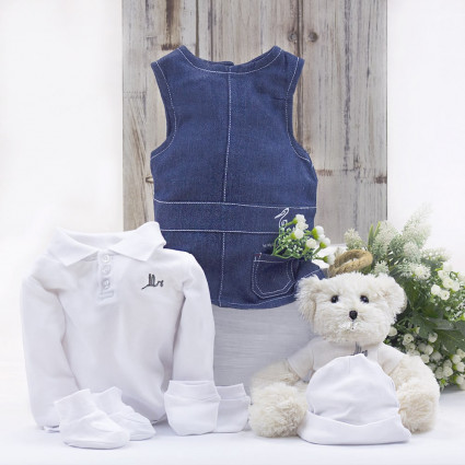 Newborn Baby Hamper & Baby Gift Baskets Baby girl outfit with teddy bear hamper white