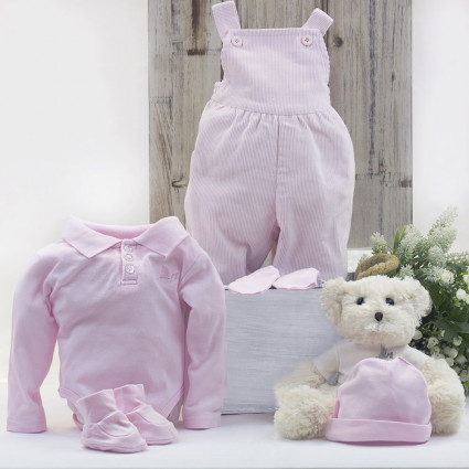 Newborn Baby Hamper & Baby Gift Baskets Polo shirt and dungarees baby outfit with teddy bear