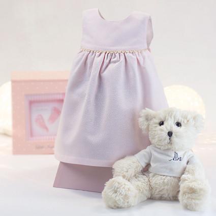 Newborn Baby Hamper & Baby Gift Baskets Pink baby dress 6-12 months with teddy bear