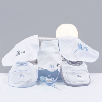 Newborn Baby Hamper & Baby Gift Baskets Embroidered bib gift set with personalised dummy