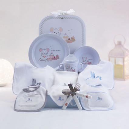 Newborn Baby Hamper & Baby Gift Baskets Children's tableware gift and newborn bib set