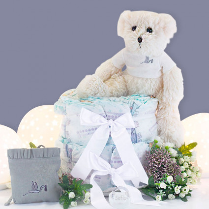 Buy Best Nappy Cakes Online Nappy cake with personalised dummy case and teddy bear grey