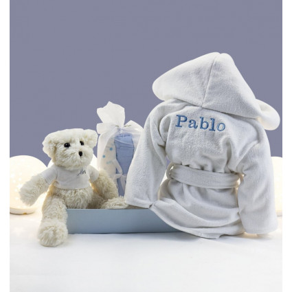 Buy Best Nappy Cakes Online Embroidered dressing gown muslin and teddy bear set