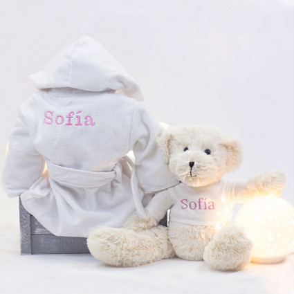 Newborn Baby Hamper & Baby Gift Baskets Embroidered dressing gown and teddy bear set