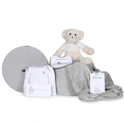 Newborn Baby Hamper & Baby Gift Baskets Embroidered blanket basket bib bodysuit and teddy bear