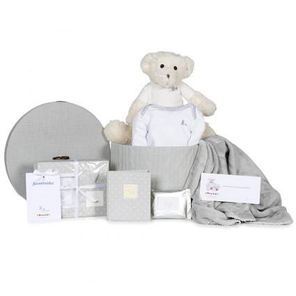 Newborn Baby Hamper & Baby Gift Baskets Basket Footprint Set, Body Blanket and Teddy Bear