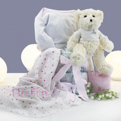 Buy Best Nappy Cakes Online Nappy cake with personalised muslin case and teddy bear