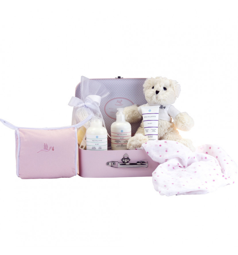 Newborn Baby Hamper & Baby Gift Baskets Overnight case with a pack of natural beauty products for babies